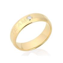 Anel Aliança Zirconia Compromisso F Ouro 18k 511523 Rommanel
