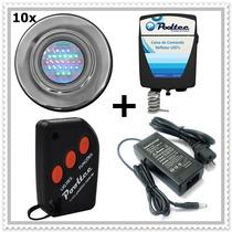 Kit Iluminação Para Piscina 10 Refletores 25 Leds + Comando