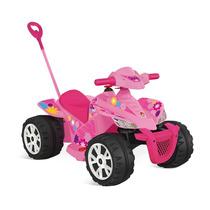 Quadriciclo Kid Passeio Elétrico 6v Rosa 2 Em 1 - Brinquedos