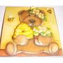 Quadro Infantil Ursinho Com Pote De Mel Em Arte Francesa