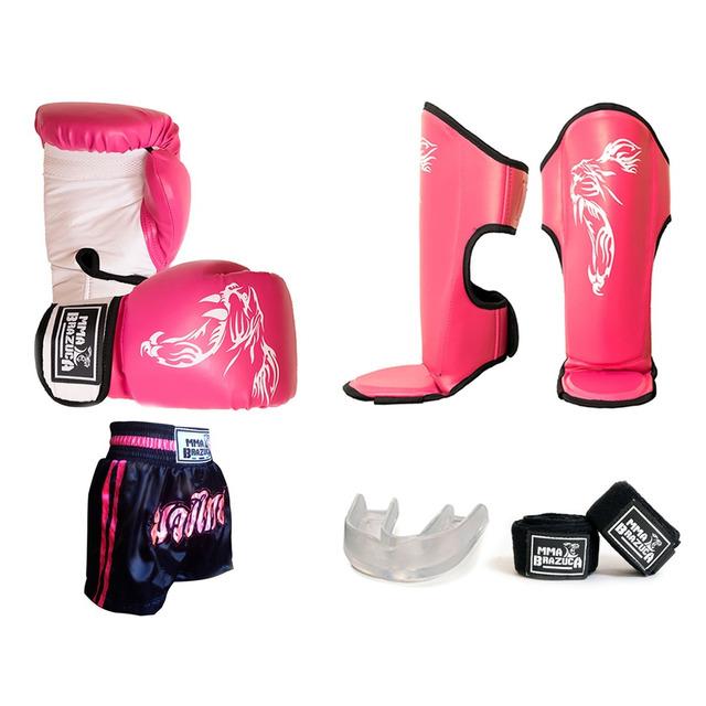 Kit Muay Thai Feminino Luva Caneleira Bandagem Bucal Shorts em ... 1b495432c320a