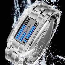 Relógio Led Geek Nerd Binário Barras Azuis Resistente Água