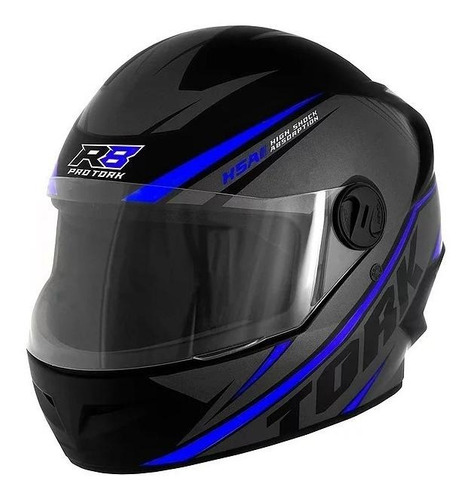 Capacete Para Moto Integral Pro Tork R8 Preto/azul Tamanho 56