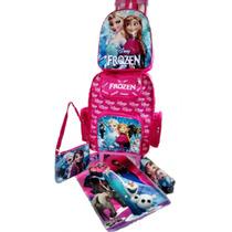 Kit Personalizado Mochila Escolar Infantil Frozen Rodinhas