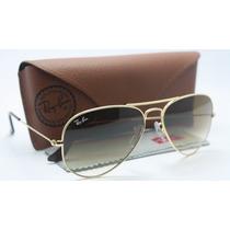 Óculos Rayban Original Aviador Rb3025 Dourado Marrom Degrade