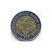 Itália - 500 Liras De 1.993 - Ventenár. Do Banco Italiano.