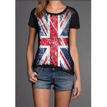 Camiseta Inglaterra Blusa Baby-look Preta Malha Fria Pv