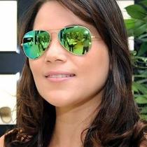 Oculos Rayban Aviador Original Verde Espelhado Feminino Masc