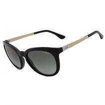 Óculos De Sol Vogue Preto Com Lente Cinza Degradê