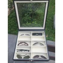 Maleta Caixa Porta Estojo Para 12 Óculos Em Couro Sintético.