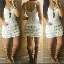 Vestido Feminino De Croche Com Babado