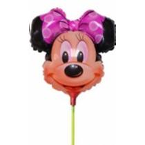 Balão Metalizado Minnie Laço Rosa 32cm - Enfeite Mesa 10 Bal