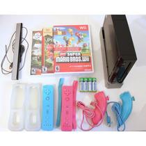 Nintendo Wii Preto Completo - Bloqueado - Usado