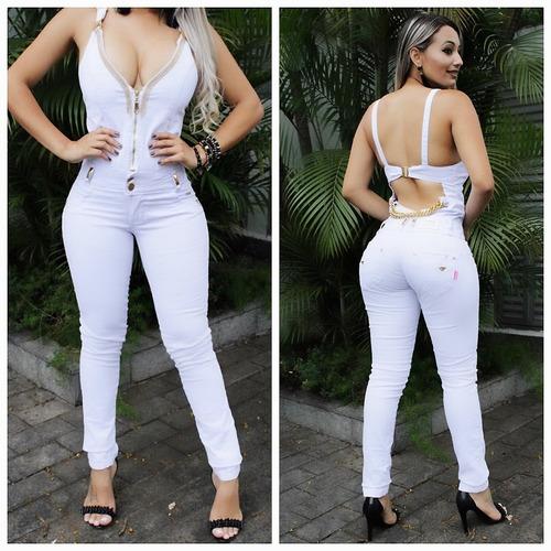 c4752b5c6ab57e Macacão Jeans Feminino Longo Branco Feminino Estilo Pitbull à venda ...