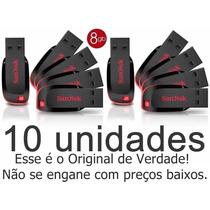 Kit Com 10 Pen Drive Sandisk 8gb 100% Original Lacrado