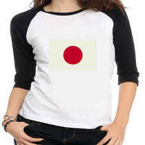 Camiseta Raglan Bandeira Japão - Feminina