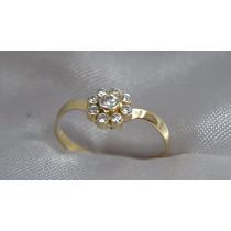 Anel Moderno Chuveirinho De Ouro Amarelo Com Diamantes Extra