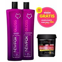 New Fox Gloss Escova Progressiva Kit 2x1 Brinde Anabolizante
