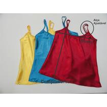 Kit Com 3 Blusas De Alcinha Feminina Mulher Cetim