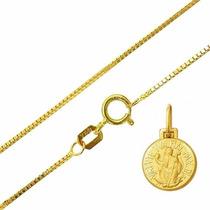 Pingente Medalha São Bento Com Corrente Veneziana Ouro 18k