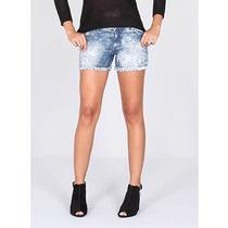 Shorts Jeans Com Barra Desfiada Feminino Miss Moon