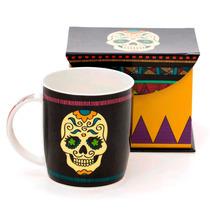 Caneca De Porcelana Caveira Mexicana Em Linda Caixa Presente