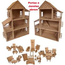 Kit 2 Casas Casinha Boneca Polly Mdf + 54 Mini Moveis Cn4