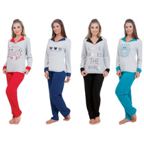 Pijama De Inverno Flanelado Feminino Adulto Frio Longo