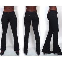 Calça Jeans Flare Azul Basica Boca De Sino Cintura Media Brz