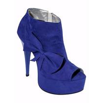 Sapato Feminino Ankle Boot Meia Pata Azul Royal