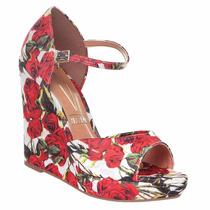 Sandália Anabela Vizzano Rosa Floral Tecido Linda 6215122
