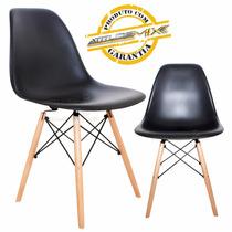 Cadeira Charles Eames Wood Design Preto Fosco Base Madeira