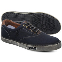 Tênis Polo Sneaker Masculino Azul Marinho E Preto Manchado