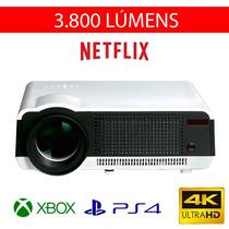 Projetor 4k Super Cinema Led Hdmi Netflix Ps4 Xbox 3800 Lume