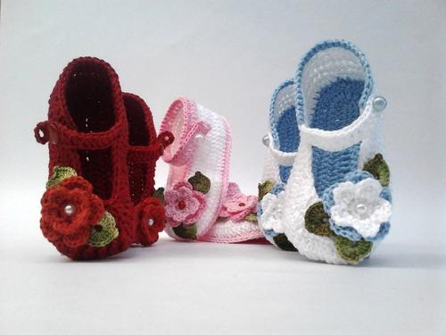Ak3 Kit Com 3 Sapatinhos Croche Menina Menino Varios Modelos d072286296a