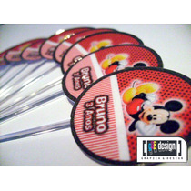 60 Tags Totens Toppers Mickey Mouse Personalizados Festa