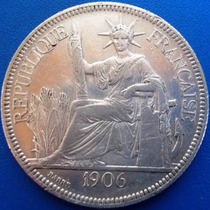 França-indo-china-moeda Prata 900-ano 1906-40 Mm-piastre