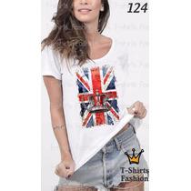 Camiseta T-shirt Bandeira Fashion Feminino Blusa Baby Look