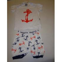 Conjunto Camiseta E Bermuda Ancora Hering Passeio Ou Pijama