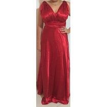 Vestido Longo De Festa Vermelho Cetim