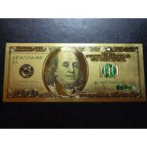 Cédula 100 Dólares Folheada A Ouro - Notas Moedas Dollar