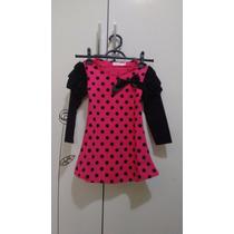 Vestido Bolinhas Rosa Com Preto 4 Anos