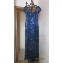 Vestido De Festa Bordado Com Paetê Azul Marinho Tamanho P