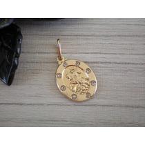 Pingente Oval São Jorge Com 8 Pedras Banhado A Ouro