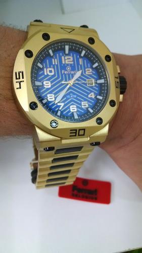 d8494f3f144 Relógio Ferrari Masculino Dourado T12ja52 Original E Barato