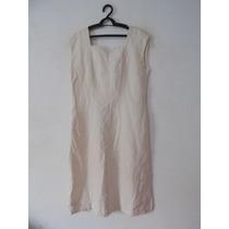 Vestido Tubinho Creme Algodao Cód. 1125