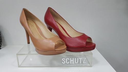a347542c2d8 Peep Toe Classic Salto Alto Couro-schutz