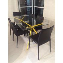 Vende-se Mesa Retangular De Vidro Com 6 Cadeiras