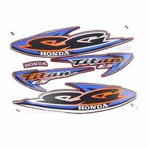Kit Jogo Adesivo Honda Titan125 Es 2000 Vermelho + Brinde