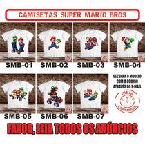 Camiseta Super Mario Bros Luigi Yoshi Peach Toad Pauline